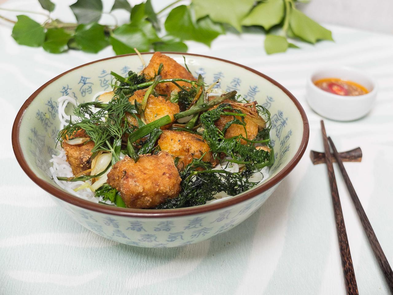 Cha Ca : poisson frit à l'aneth et ciboule cuisiné par Thao-Suong