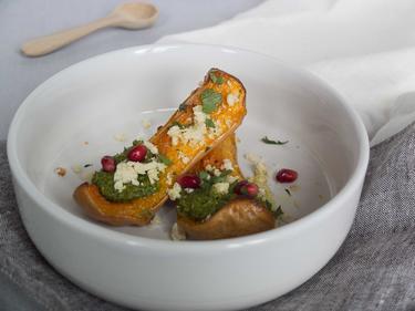 Butternut Rôties, Pesto de Pistache et Feta Végétale cuisiné par Anna