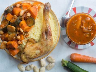 Couscous aux 7 légumes de saison au poulet cuisiné par Dahmane