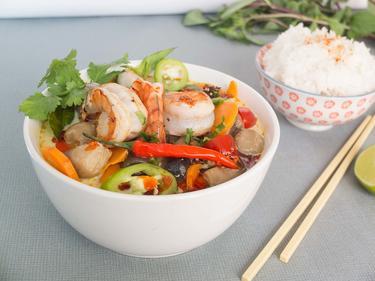 Tom Yam Kung aux crevettes cuisiné par Thao-Suong